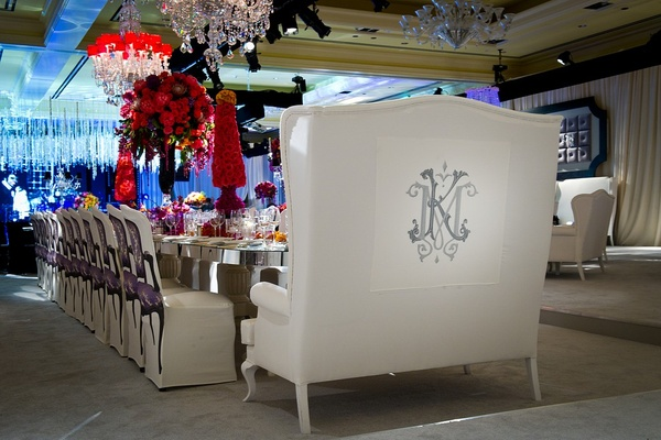 Head table white love seat furniture with monogram