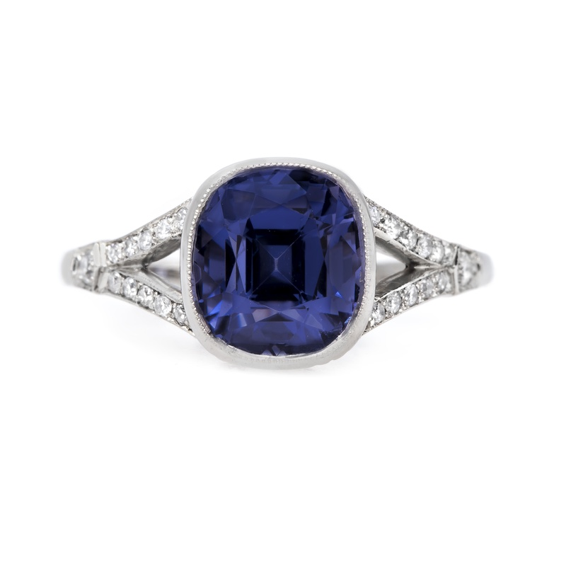 claire pettibone and trumpet and horn equinox engagement ring, violet spinel, white gold, milgrain