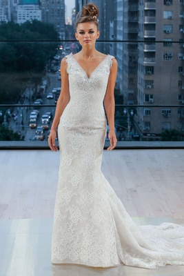 """Houston"" Ines Di Santo fall 2018 v neck wedding dress lace trumpet fit flare gown pleated train"