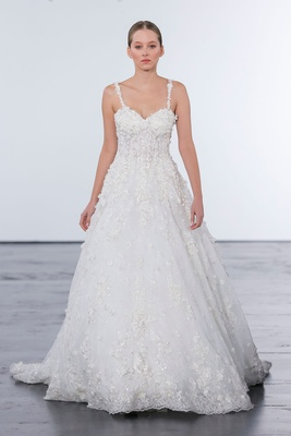 Dennis Basso for Kleinfeld 2018 collection wedding dress spaghetti strap gown corset bodice details