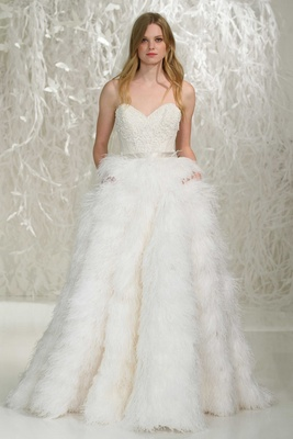 watters 2016 strapless wedding dress with sweetheart neckline and full feather ball gown skirt