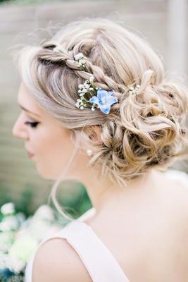 braided bridesmaid hair bun natural flowers blue white green english british garden wedding UK