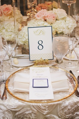 Gold charger plate on ivory linen with blue and gold stationery