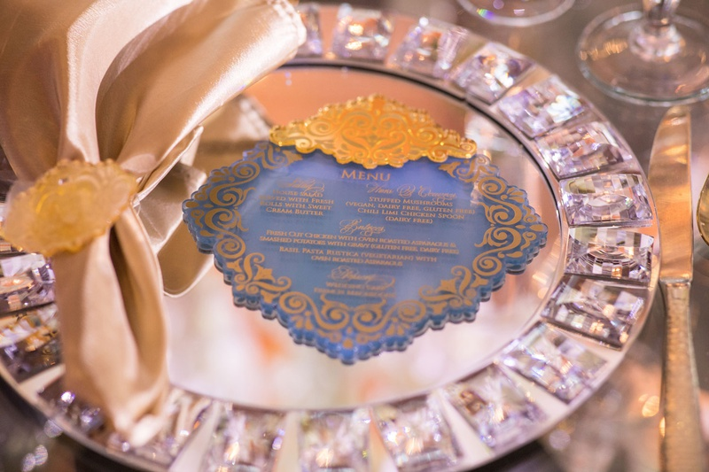 royal wedding celebration african ghana royalty blue acrylic menu gold details matching napkin ring