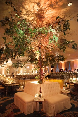 Tall tree flower arrangement behind lounge furniture rentals