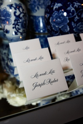 wedding reception mirror escort card table tent cards calligraphy blue and white chinoiserie ginger