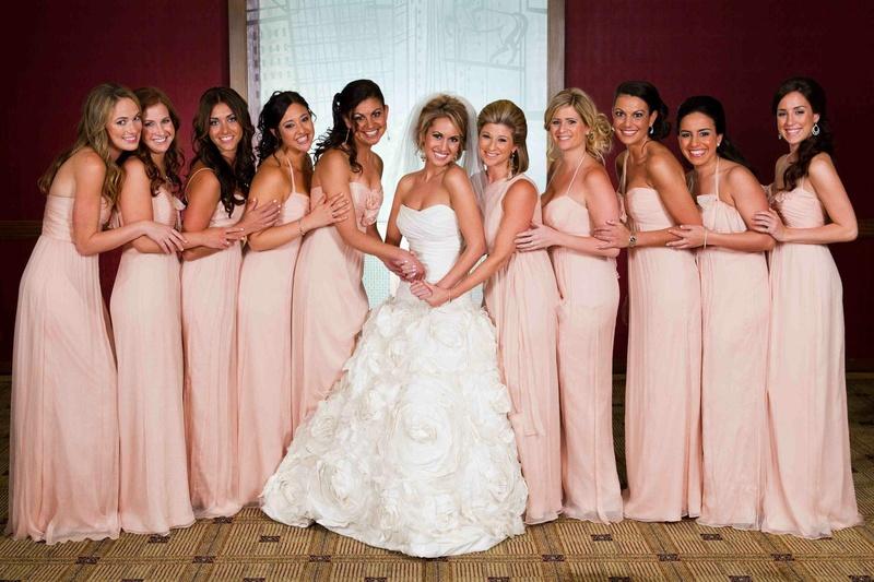 Brides + Bridesmaids Photos - Pink Bridesmaid Dresses in Different ...