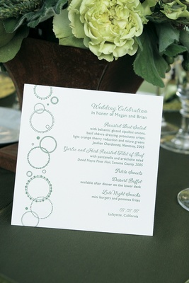 Wedding menu card with green circle design