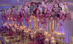 tall purple pink floral arrangements bold feminine styled shoot wedding kesh designs lavish