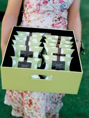 Wedding ceremony favors inside box carried by guest