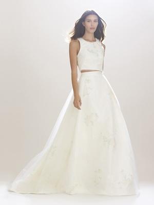 Crop top tank wedding dress with ball gown skirt by Carolina Herrera