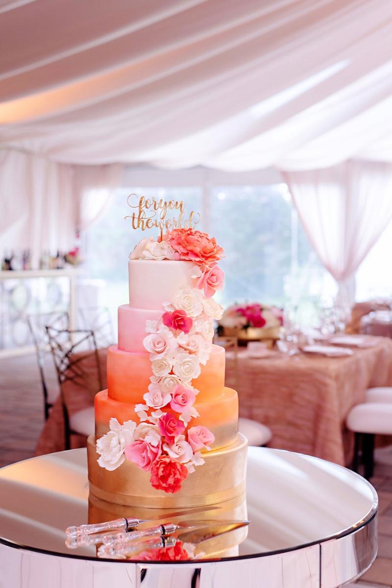 wedding cake gold coral orange pink white fondant design calligraphy cake topper sugar flowers