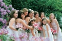 Bridesmaid and flower girl coordinating attire