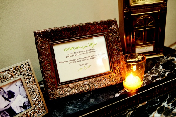Wood carved frame with guest book instructions