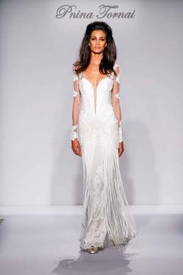 Pnina Tornai for Kleinfeld 2016 illusion long sleeve wedding dress with fringe skirt