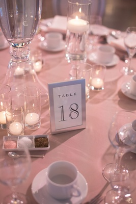Wedding reception same sex wedding silver frame table number on pink linens glass votives candles