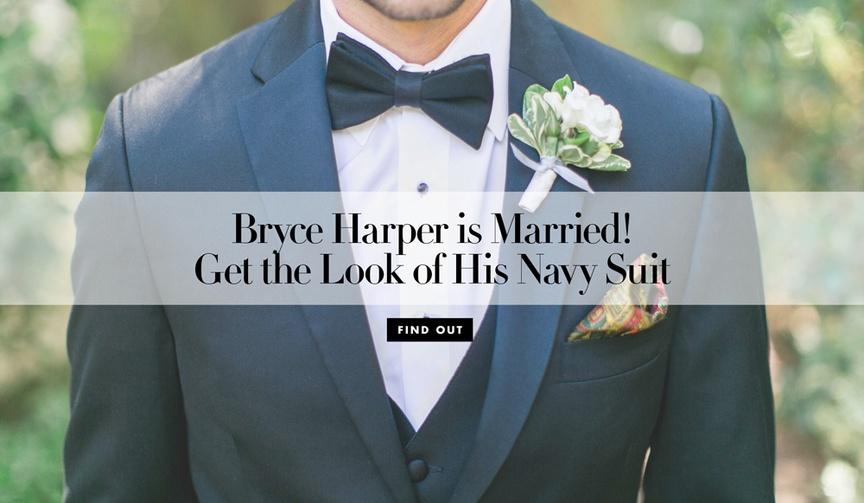 bryce harper wedding to kayla varner, navy suit for grooms and groomsmen