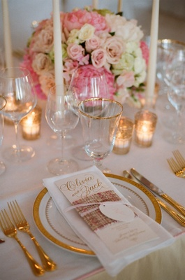 Gold foil personalized menu wrapped with pink tweed