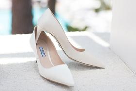 Simple wedding shoes prada pumps white bridal heels