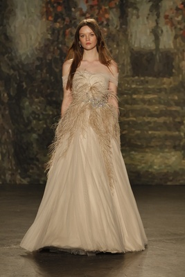 """off the shoulder A-line """"cordelia"""" dress with feathers by jenny packham"""