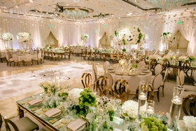 Ballroom wedding reception ivory cream mirror table rose gold chairs green centerpieces