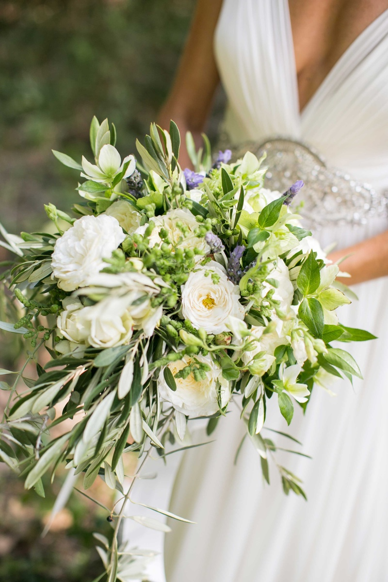 Freshly picked looking bouquet hellebore garden rose olive branches lavender mint leaves