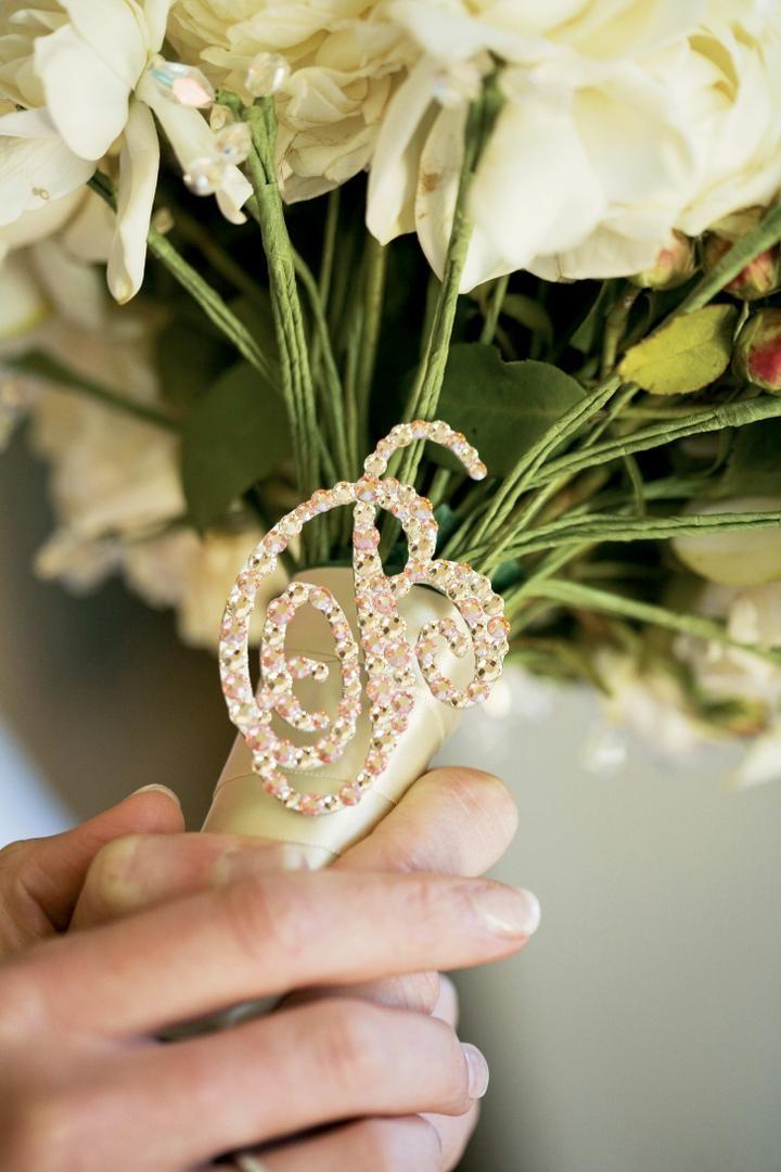 Rhinestone B on white and ivory bridal flowers