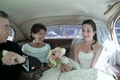 Mother-of-the-bride and white and brown limo interior