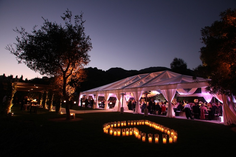 Candle Heart Outside Wedding Reception Tent