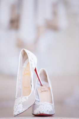 Christian Louboutin wedding shoes bride shoes sheer lace pumps famous red soles