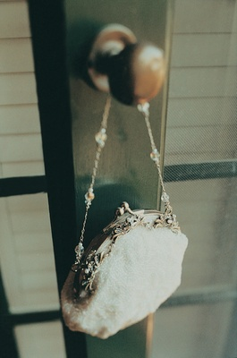 Bridal bag with strap and embellishments