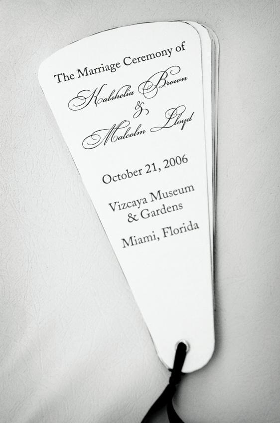 Black and white wedding program fans