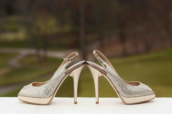 Silver peep-toe Jimmy Choo shoes with strap