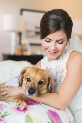 bride in lace monique lhuillier sleeveless dress with pet dog, bridal portrait with dog