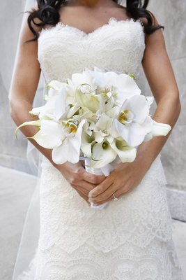 White calla lily and orchid bouquet with rhinestones
