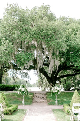 wedding ceremony in south carolina white flower greenery on both sides of vow exchange spot shrubs