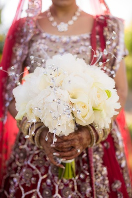 all white bouquet floral crystals roses indian hindu weddingbangles details