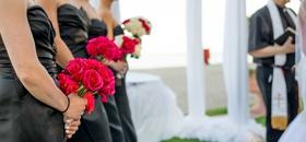 Hot pink bridesmaid bouquet roses black dark grey dresses bridesmaids