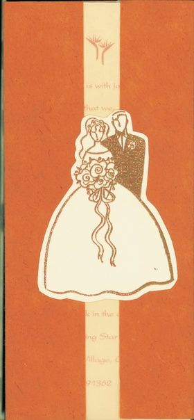 Wedding invitation with illustration of bride and groom