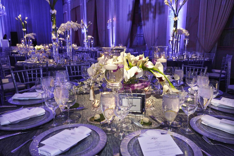 Stunning Chicago Wedding With Purple Lighting Ivory Florals