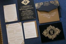 blue black gold invitation suite catholic california wedding calligraphy katrina wedding
