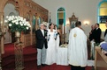 Bride and groom in Greek Orthodox church ceremony