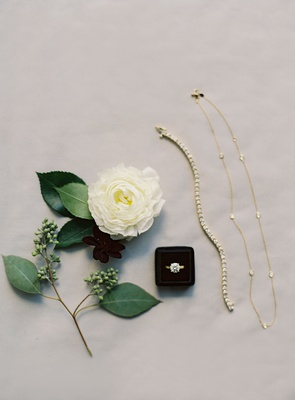 wedding jewelry with white rose and greenery bracelet necklace gold diamond round solitaire ring