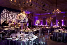 Purple wedding reception with uplighting and gobo lighting