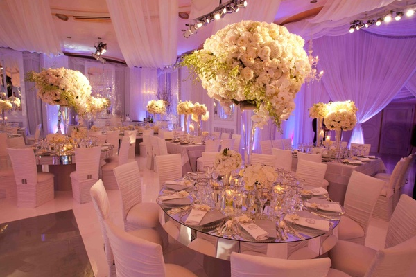 Custom Mirror Reception Tables With White Flower Centerpieces