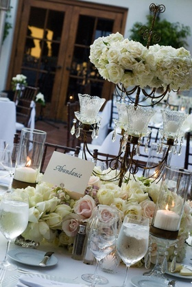 Candelabra with candles, roses, and hydrangea