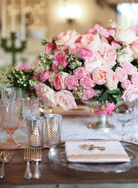 wood table, lace runner, pink rose, garden rose, ranunculus, silver vase, blush vintage glassware