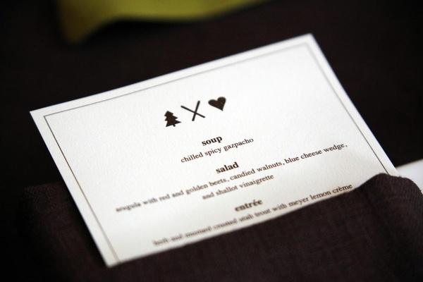Mountain lodge wedding menu card with custom logo