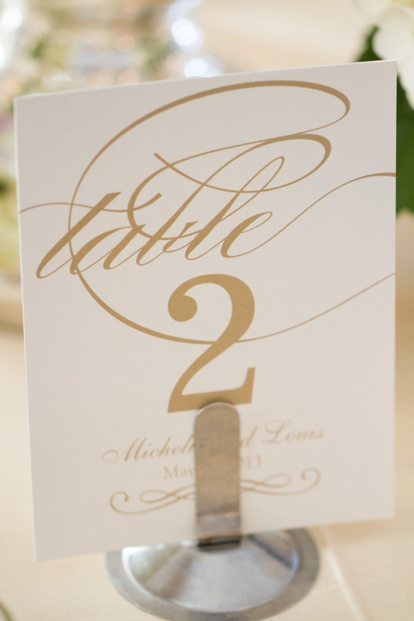 Wedding reception table number on white stationery