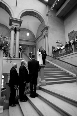 Black and white photo of Art Institute ceremony